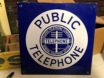 Vintage PUBLIC TELEPHONE Sign PORCELAIN Associated General Phone DOUBLE SIDED