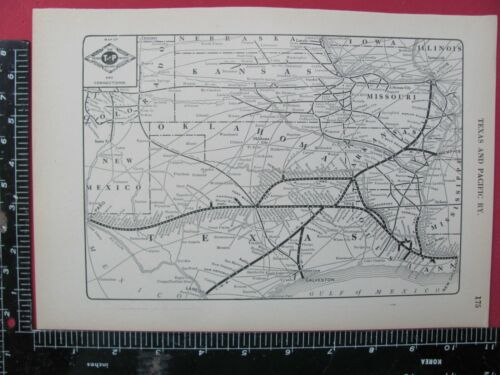 TEXAS & PACIFIC RAILROAD 1925 SYSTEM MAP ROUTES CONNECTING RRs