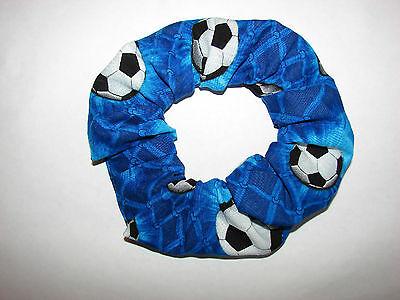 Soccer blue hair scrunchie- soccer balls, sports, team, school, kids, - Soccer Scrunchie