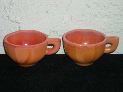 Set of 2 Akro Agate Large Octagonal Cups with Open Handles  Pumpkin