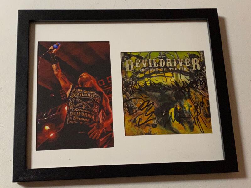 DEVILDRIVER AUTOGRAPHED SIGNED FRAMED OUTLAWS CD COVER JSA COA # JJ30524