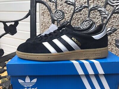 Adidas Munchen Size 8 Bnibwt Black And Silver DEADSTOCK