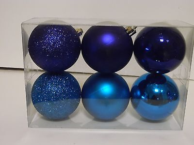 Purple And Turquoise Decorations (6 PURPLE AND TURQUOISE HOLIDAY SHATTER RESIS CHRISTMAS ORNAMENTS DECORATION)