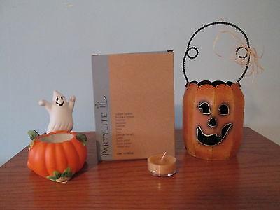 Partylite Halloween Pumpkin With Ghost, BONUS Tealights and Pumpkin Votive  - Partylite Halloween Tealights