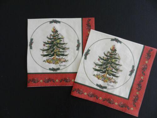 2 (Two) Single Dinner Sz Paper Napkins for Decoupage Craft Spode Christmas Tree