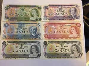 Collection of 1970s Vintage  Scene Series Canadian Banknotes