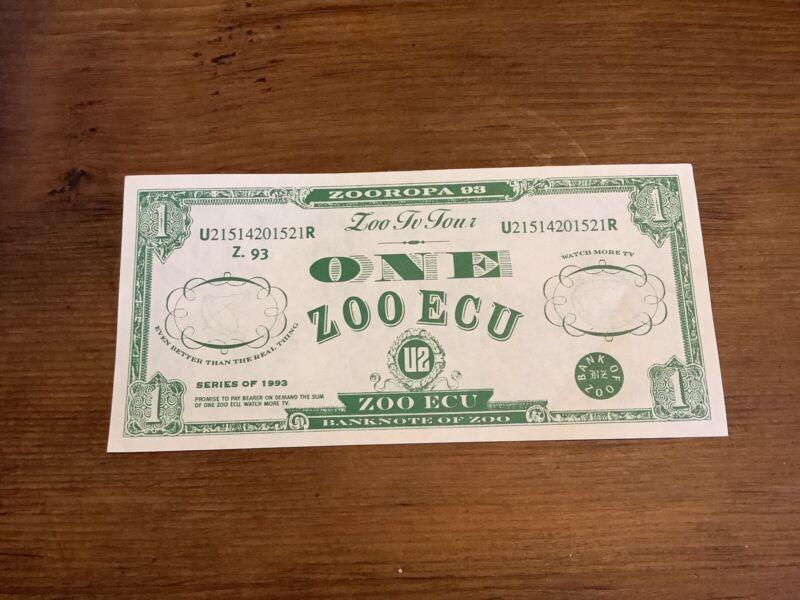 "U2 1993 Zoo TV Zooropa  ECU ""Bono Bucks"" Rare Unused Excellent Condition"