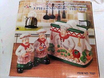 Ceramic Chef Salt And Pepper Shaker Napkin Holder Set Of 3 New In (Salt And Pepper Shaker Napkin Holder Set)