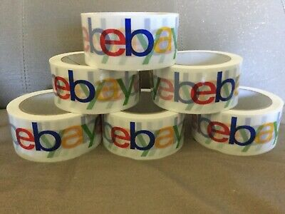 Lot Of 6 Rolls Of Ebay Logo Packing Tape 75 Yards 2 Wide  White