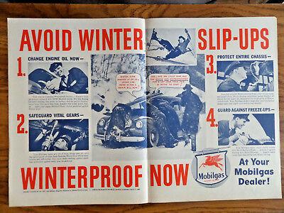 1946 Mobil Mobilgas Ad Avoid Winter Slip-Ups Winterproof Now