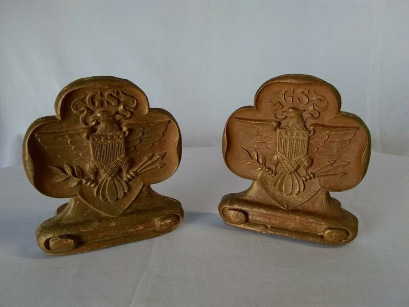 Vintage Girl Scouts Of America Logo Wooden Bookends