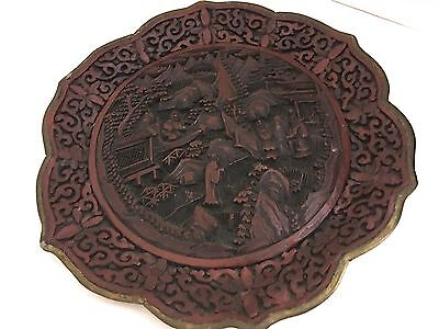 ANTIQUE 19th Century Elaborately  Carved Cinnabar Plate w Qianlong Mark