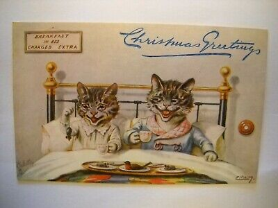 CATS CHRISTMAS GREETINGS antique unused postcard CHROMO dressed breakfast in bed ()