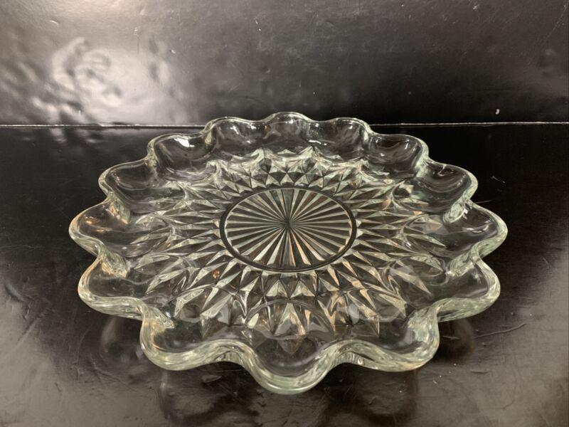 """Vintage Starburst Clear Glass Deviled Egg Plate 11"""""""