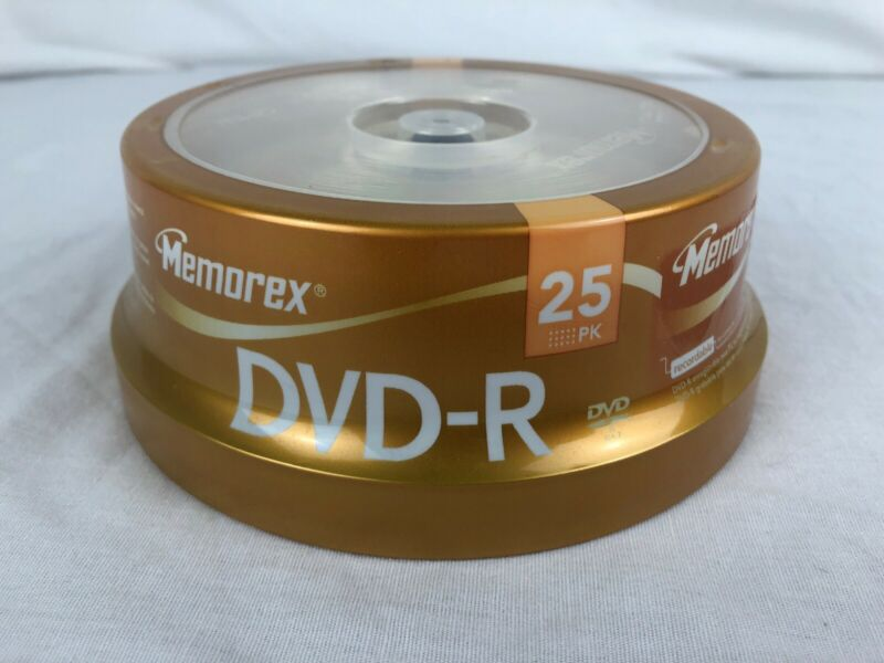 Memorex DVD-R 25 Pack Spindle 16x 4.7 GB 120 min Factory Sealed