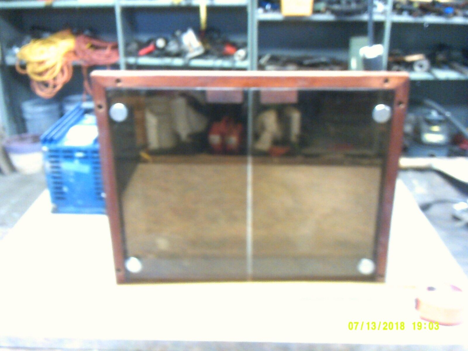 Teak Framed Panel Cover with Smoked Plexiglass Doors