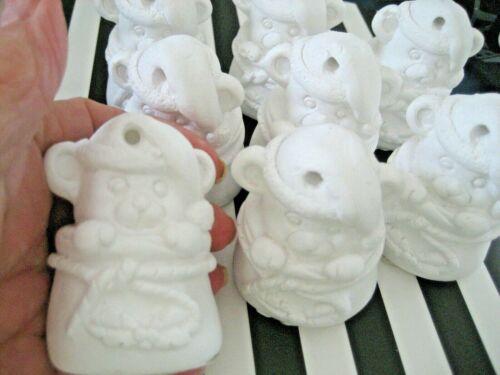 Lot of 8 NEW Kids Craft CHRISTMAS PLASTER Santa BEAR ORNAMENT Ready to Paint