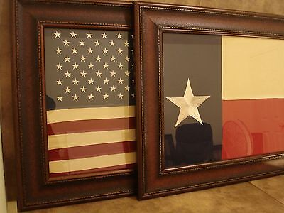 LARGE US FLAG & TEXAS FLAG FRAMED - EMBROIDERED CLOTH FLAG IN RUSTIC FRAME