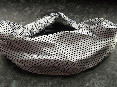 Black & White Polka Dot Hair bandeaux fabric headband hairband silky wrap band  - Black And White Polka Dot Headband