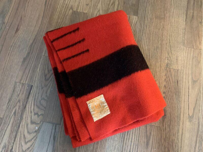 RARE Vintage Hudson Bay 3.5 Point 100% Wool Blanket, Crimson Red