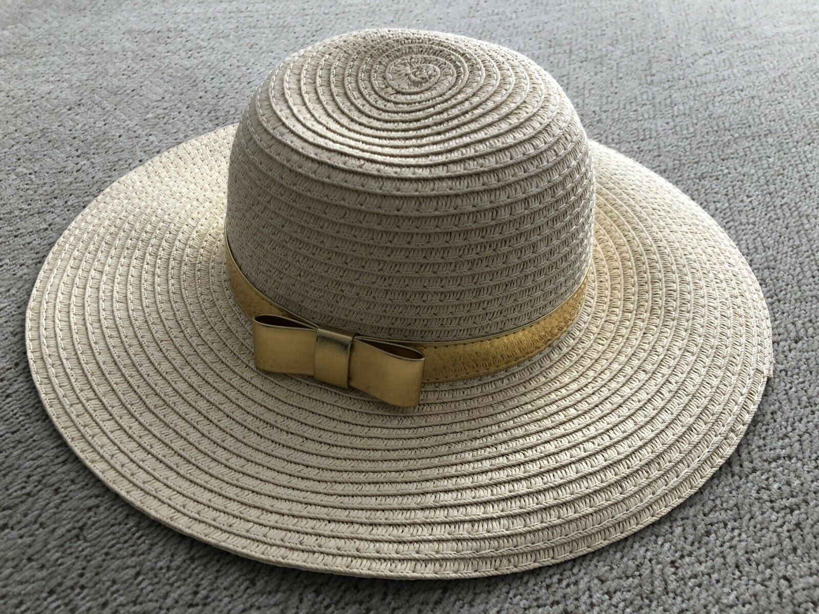 Janie And Jack Straw Sun Hat With Gold  Bow Infant Baby Girl