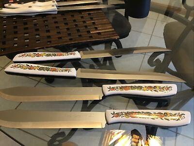 MCM Bakelite Ekco Knife Set Vanadium Stainless 4 Piece Spice Garden (of Life)