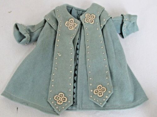 Antique Blue Wool Felt with Lace Detail Doll Coat