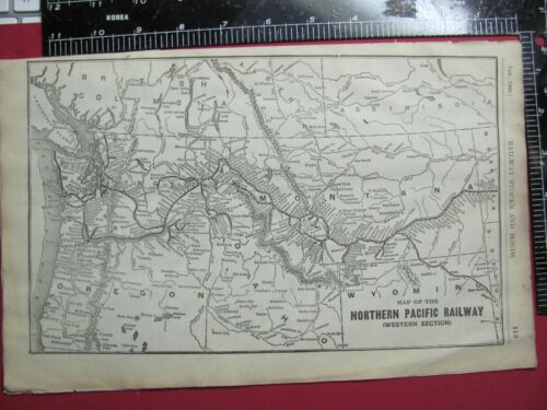 RARE ORIGINAL 1906 NORTHERN PACIFIC RAILROAD SYSTEM MAP - WESTERN SECTION