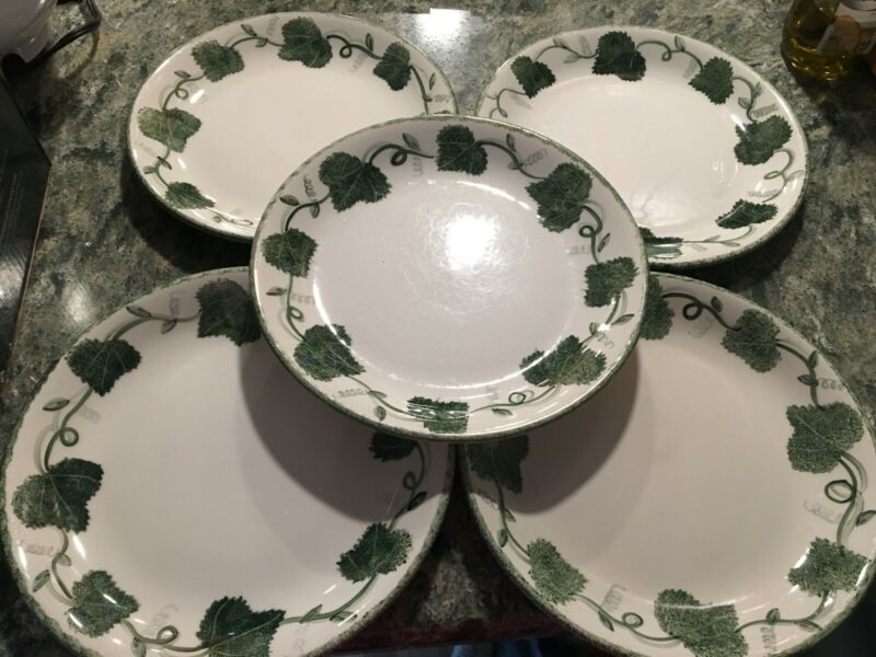 5 Poole Pottery England hand-painted vine leaf pattern green dinner plates