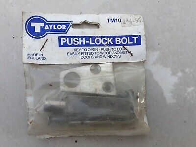 Vintage Door Window Taylor Metal Silver Push lock bolt Unused old stock