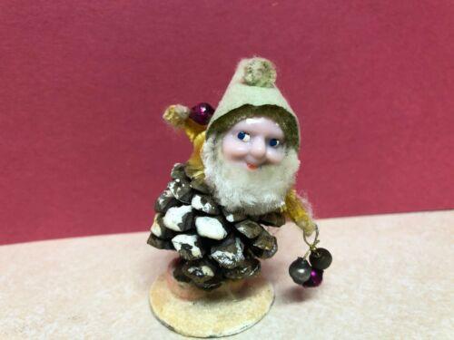 Cute Vtg Pine Cone Gnome Elf Christmas Ornaments Shiny Brite Japan Spun Cotton