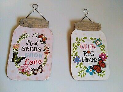 Mason Jar Art (Mason jar wall art set of two hanging mason jars  grow big dreams and)