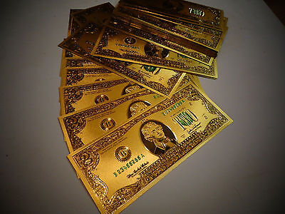 24 KARAT  GOLD 2 DOLLAR USA  NOTE-GREEN SEAL-EACH IN RIGID PVC BILL HOLDER