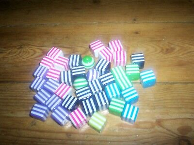 40 purple light green red black blue cubes & balls beads 17cm for craft necklace