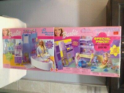 BARBIE ALL AROUND HOME KELLY'S BATHROOM & BEDROOM PLAY SETS NIB
