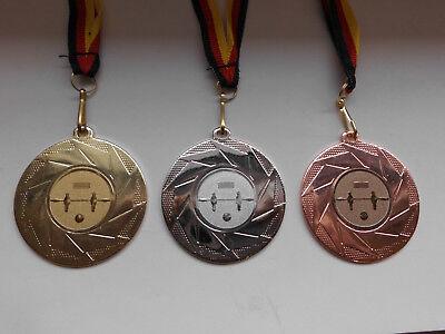 Medaillen e277 Kicker Pokal Kids Medaillen 3er Set mit Band&Emblem Turnier Tischfußball