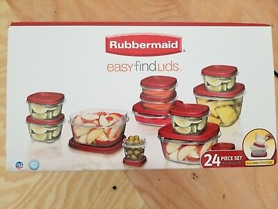 RUBBERMAID Easy Find Lids 24 Piece Food Storage Container Set Clear Red Lids NEW