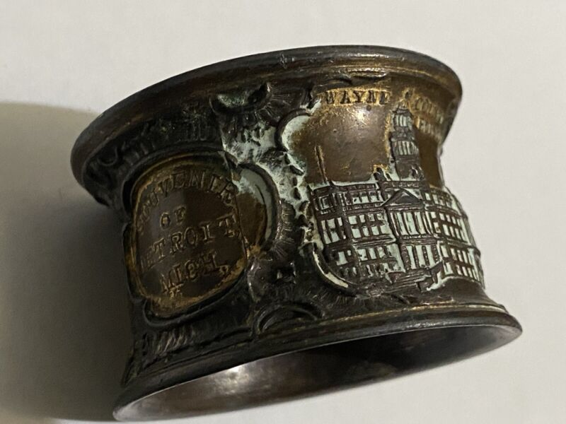 circa 1900 vtg detroit souvenir napkin ring water works museum of art