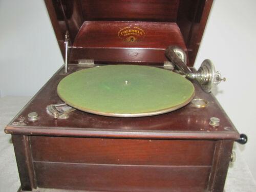Antique Columbia Grafonola Hand Crank Phonograph Great Condition Works