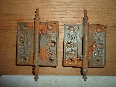 antique cast iron steeple hinges, Eastlake  / Victorian period # 9
