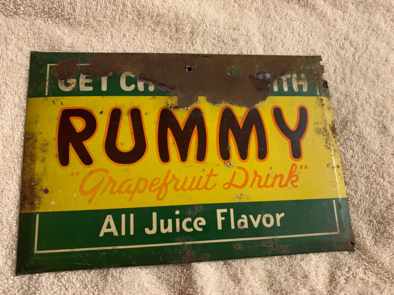 Original Rustic  Rummy Soda Advertising Sign
