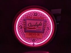 Starlight Drive-In 'Now Showing Movies In Color' Pink Neon Wall Clock - Works!