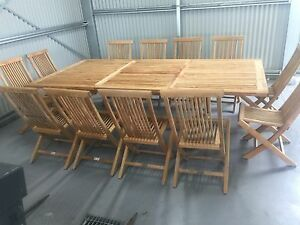 JATI TEAK OUTDOOR EXTENSION TABLE AND 12 TEAK CHAIRS Moorooduc Mornington Peninsula Preview