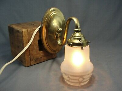 Antique Cast Brass Wall Light Sconce Etched Satin to Clear Shade Candelabra Bulb