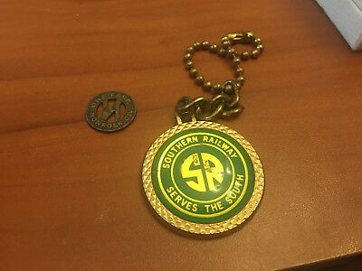 VINTAGE SOUTHERN RAILWAY TRAIN KEY CHAIN AND BUTTON