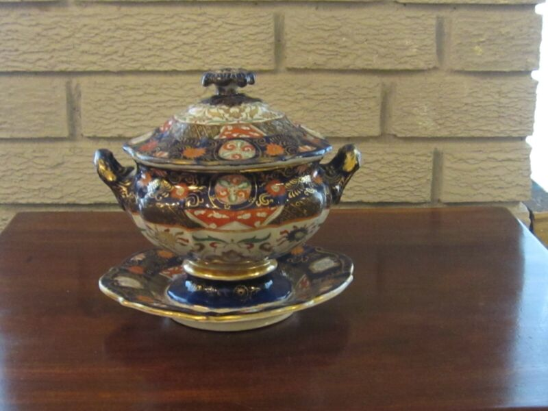 Mason Decorated Ironstone Sauce Tureen Circa 1840-50