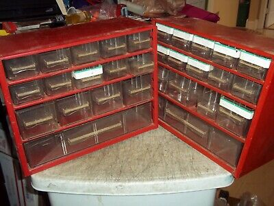 3 Pc Vntg Raaco Flambeau Red Metal 15 Drawer Storage Cabinets 12x9-12x5-34