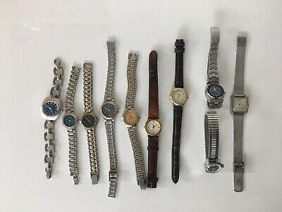 Lot de 10 montres anciennes vintage années 60 70 SICURA SEIKO IAXA Q&Q TISSOT