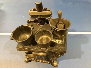 Miniature Cast Iron Queen Cook Stove Set with Accessories