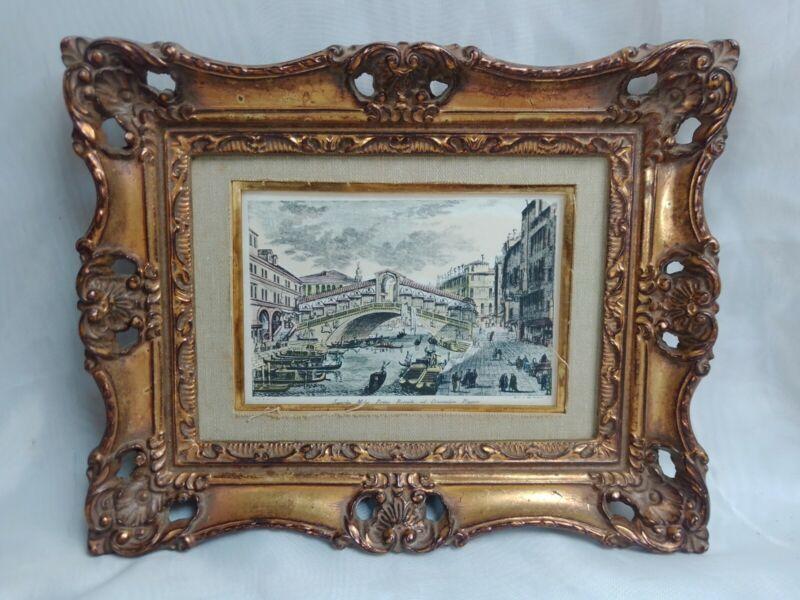 "Vintage Turner Wall Accessory Art ""Venice Scenes"" Framed Mid Century Print"
